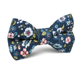 Mediterranean Midnight Blue Floral Kids Bow Tie