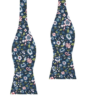 Mediterranean Midnight Blue Floral Self Bow Tie