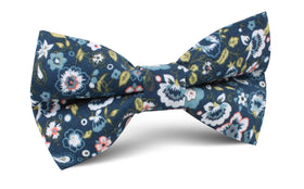 Mediterranean Midnight Blue Floral Bow Tie