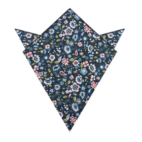 Mediterranean Midnight Blue Floral Pocket Square