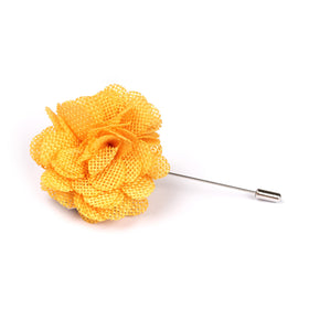 Melbourne Cup Yellow Lapel Flower Pin Front Boutonniere