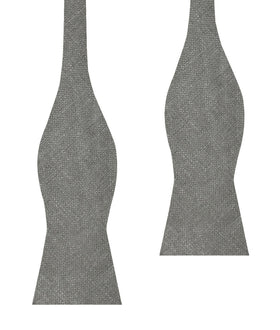 Mercury Charcoal Linen Self Bow Tie