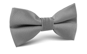 Mercury Grey Weave Bow Tie