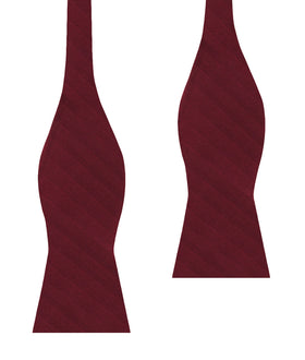 Merlot Wine Striped Self Bow Tie