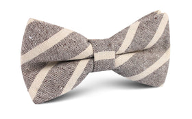 Mersin Brown Stripe Chalk Linen Bow Tie