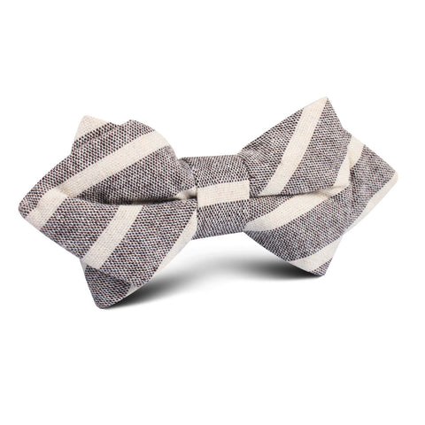 Mersin Brown Stripe Chalk Linen Diamond Bow Tie
