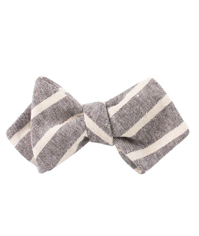 Mersin Brown Stripe Chalk Linen Diamond Self Bow Tie