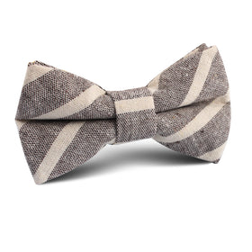 Mersin Brown Stripe Chalk Linen Kids Bow Tie