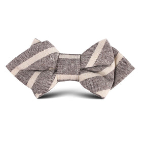 Mersin Brown Stripe Chalk Linen Kids Diamond Bow Tie