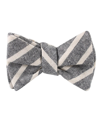 Mersin Brown Stripe Chalk Linen Self Bow Tie