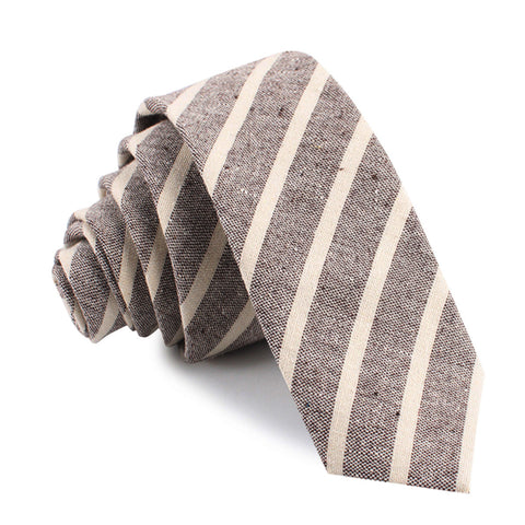 Mersin Brown Stripe Chalk Linen Skinny Tie