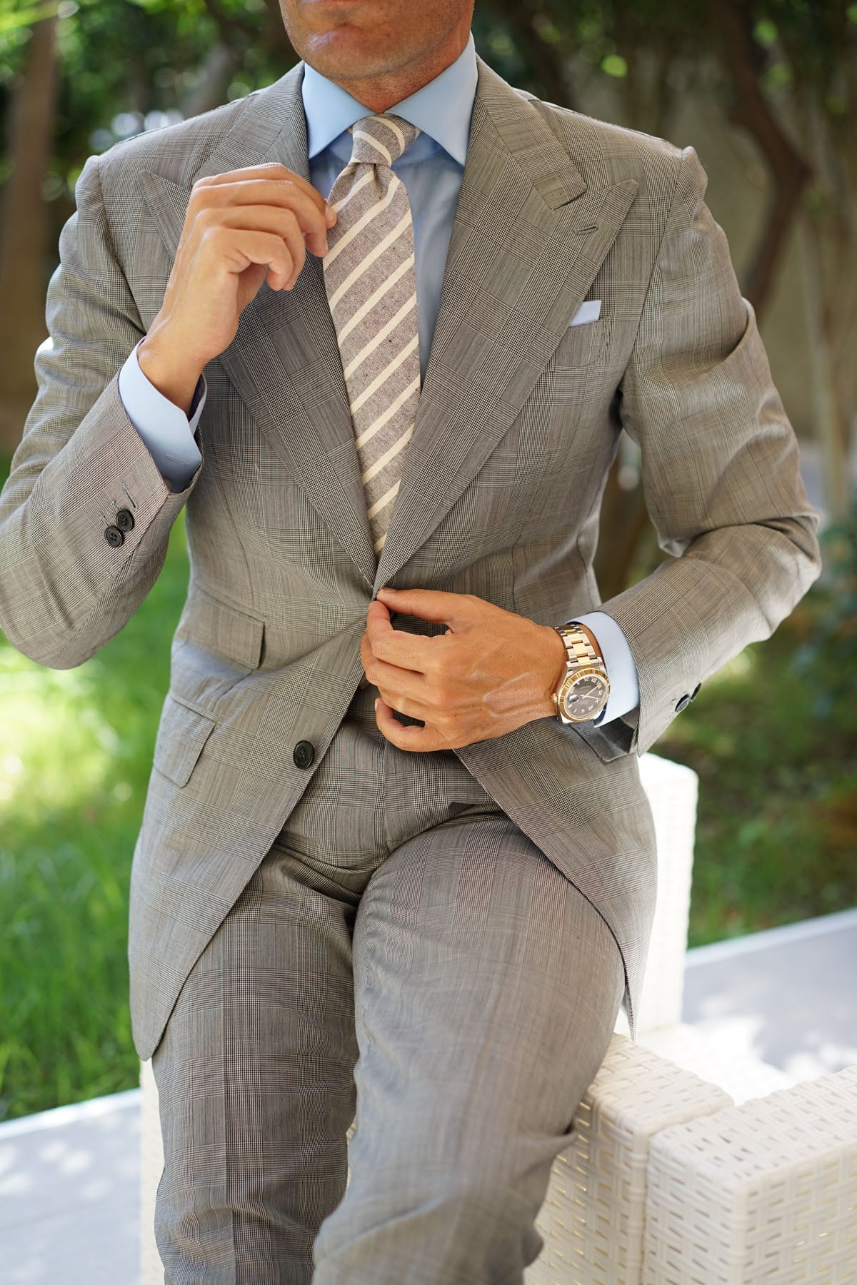 Mersin Brown Stripe Chalk Linen Tie