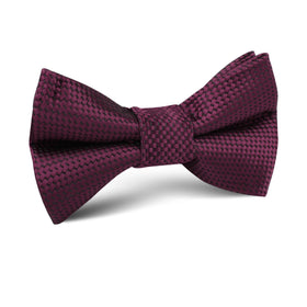 Metallic Maroon Oxford Weave Kids Bow Tie