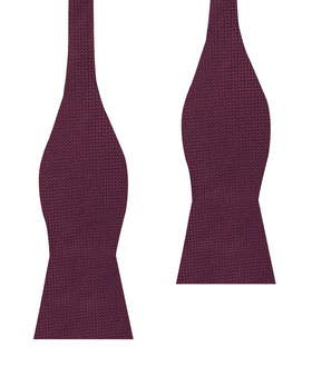 Metallic Maroon Oxford Weave Self Bow Tie