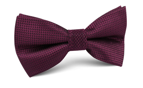 Metallic Maroon Oxford Weave Bow Tie