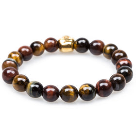 Metamorphic Tiger's Eye Gold Skull Bracelet