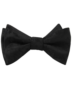Midnight Black Floral Self Bow Tie