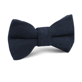 Midnight Blue-Black Linen Kids Bow Tie