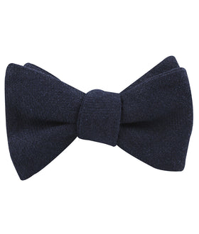 Midnight Blue-Black Linen Self Bow Tie
