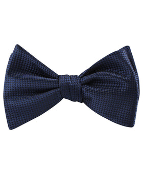Midnight Blue Oxford Weave Self Bow Tie