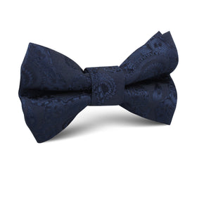 Midnight Navy Paisley Kids Bow Tie
