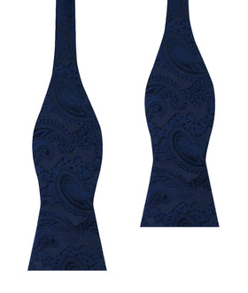 Midnight Navy Paisley Self Bow Tie