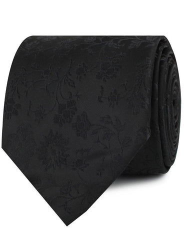 Midnight Black Floral Necktie