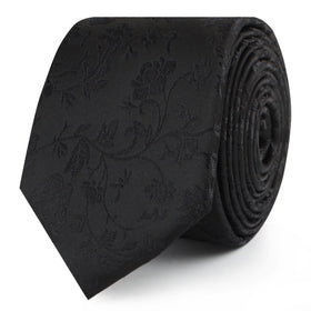 Midnight Black Floral Skinny Tie