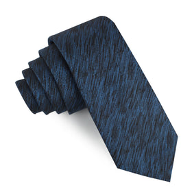 Midnight Blue-Black Chambray Skinny Tie
