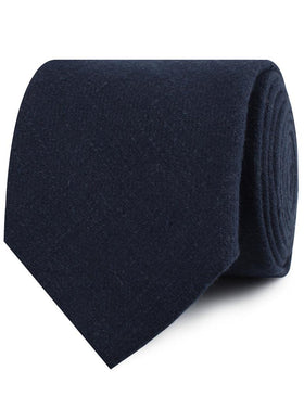 Midnight Blue-Black Linen Necktie