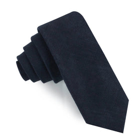 Midnight Blue-Black Linen Skinny Tie