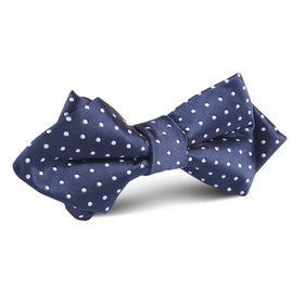 Midnight Blue Mini Pin Dots Diamond Bow Tie