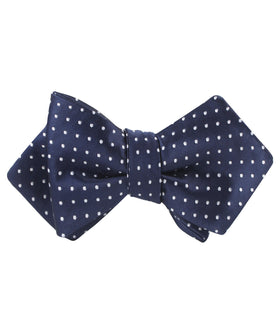 Midnight Blue Mini Pin Dots Diamond Self Bow Tie