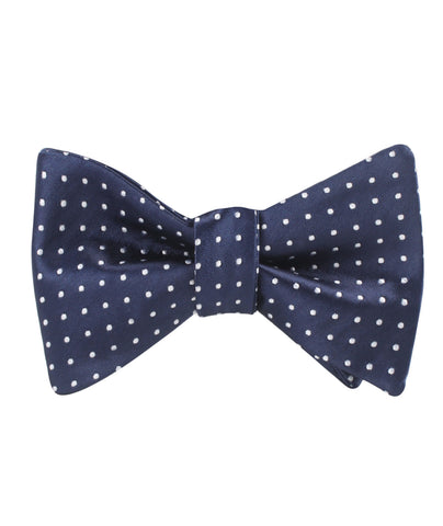 Midnight Blue Mini Pin Dots Self Bow Tie