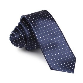 Midnight Blue Mini Pin Dots Skinny Tie