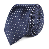 Midnight Blue Mini Pin Dots Slim Tie