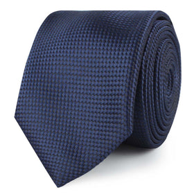 Midnight Blue Oxford Weave Skinny Tie