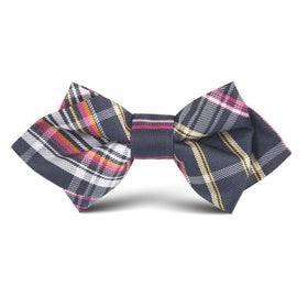 Midnight Blue Pink Stripes Kids Diamond Bow Tie
