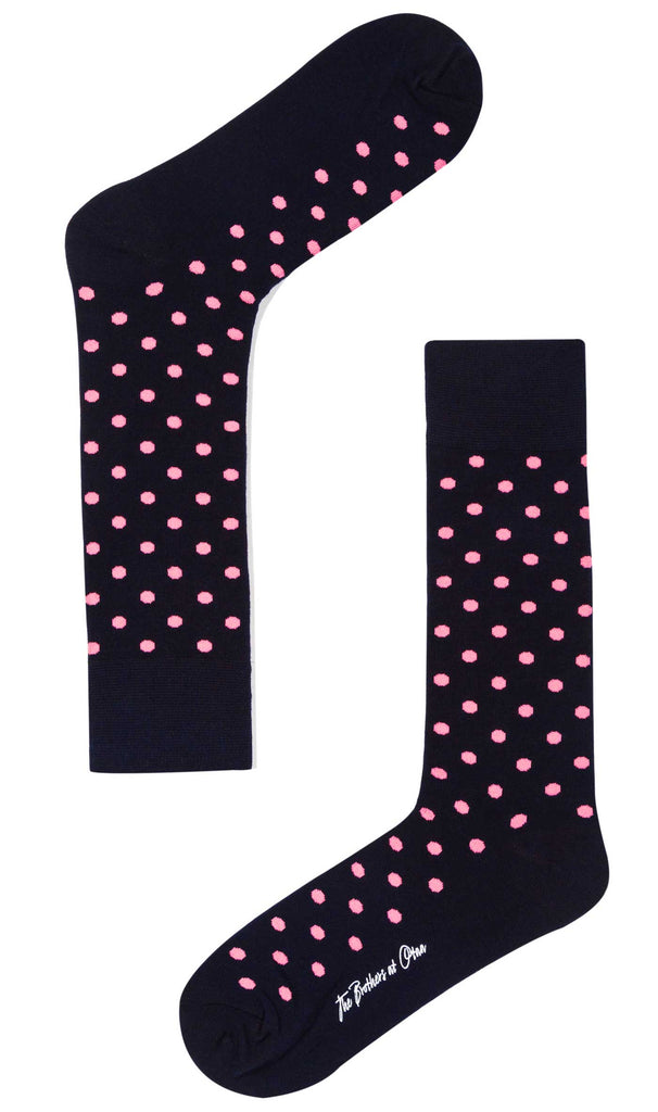 Midnight Blue on Pink Dot Socks