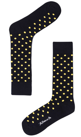 Midnight Blue on Yellow Dot Socks