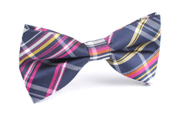 Midnight Blue with Pink Stripes Bow Tie