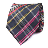 Midnight Blue with Pink Stripes Necktie Front View