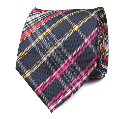 Midnight Blue with Pink Stripes Necktie