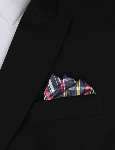 Midnight Blue with Pink Stripes Pocket Square