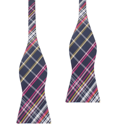 Midnight Blue with Pink Stripes Self Tie Bow Tie