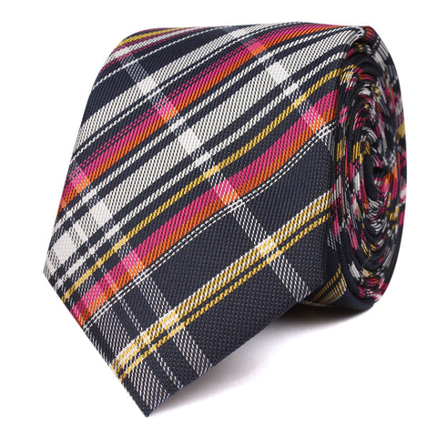 Midnight Blue with Pink Stripes Skinny Tie