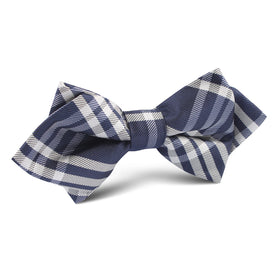 Midnight Blue with White Stripes Diamond Bow Tie