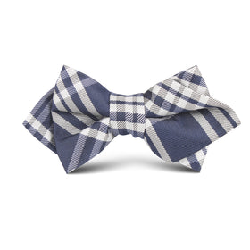 Midnight Blue with White Stripes Kids Diamond Bow Tie