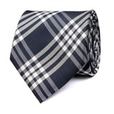 Midnight Blue with White Stripes Necktie Front View
