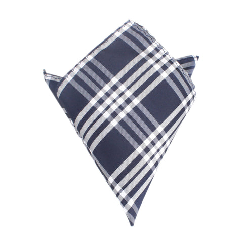 Midnight Blue with White Stripes Pocket Square
